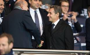 Former French president Nicolas Sarkozy and French junior minister for Parliamentary Relations Jean-Marie Le Guen attend the UEFA Champions League group A football match between Paris Saint-Germain and Real Madrid at the Parc des Princes stadium in Paris, FRANCE-21/10/2015. /NIVIERE_011NIV/Credit:NIVIERE/SIPA/1510220146