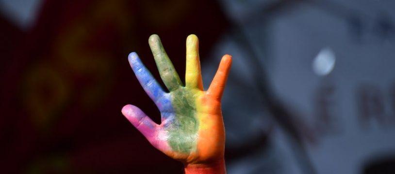 Une main peinte avec le drapeau arc-en-ciel, symbole de la communauté homosexuelle.