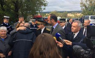 Edouard Philippe en déplacement dans l'Aude le 15 octobre 2018.