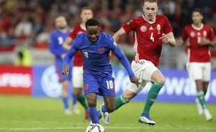 Raheem Sterling lors du match Hongrie-Angleterre, le 2 septembre 2021 au stade Ferenc-Puskas de Budapest.