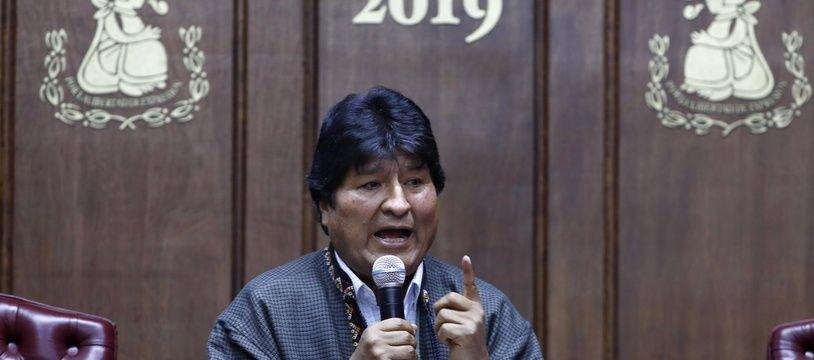 L'ancien président bolivien Evo Morales lors d'une conférence de presse le 27 novembre 2019 à Mexico.
