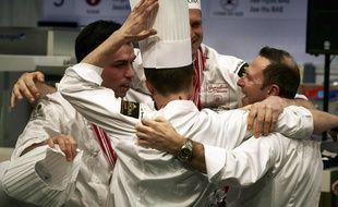 Chassieu, le 22 janvier 2017. Les membres de l'équipe de France, Etienne Leroy, Bastien Girard, Jean-Thomas Schneider et Marc Riviere. Ils ont été sacré champions du monde de pâtisserie lors du Sirha de Lyon.