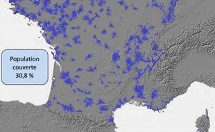 La couverture du réseau de Free Mobile, estimée à 30,8% du territoire, fin mars, par l'ANFR.