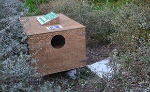 L'un des abriS pour chats installés en ville.