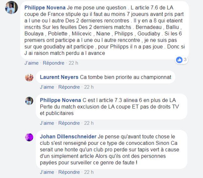 Capture d'écran du commentaire de Philippe sur Facebook