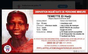 El Hadji, 12 ans, a disparu le 25 février à Paris