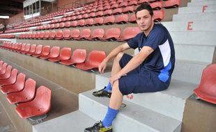 L'attaquant de Créteil, Rudy Carlier, avant un entraînement en septembre 2010.