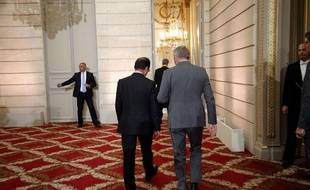 François Hollande et Jean-Marc Ayrault, avant la conférence de presse du président, le 16 mai 2013.