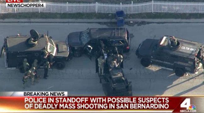 Deux suspects de la tuerie de San Bernardino qui s'étaient enfuis à bord de ce 4x4 ont été tués par les autorités. – NBC