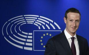 Le PDG de Facebook, Mark Zuckerberg, au Parlement européen, le 22 mai 2018 à Bruxelles.