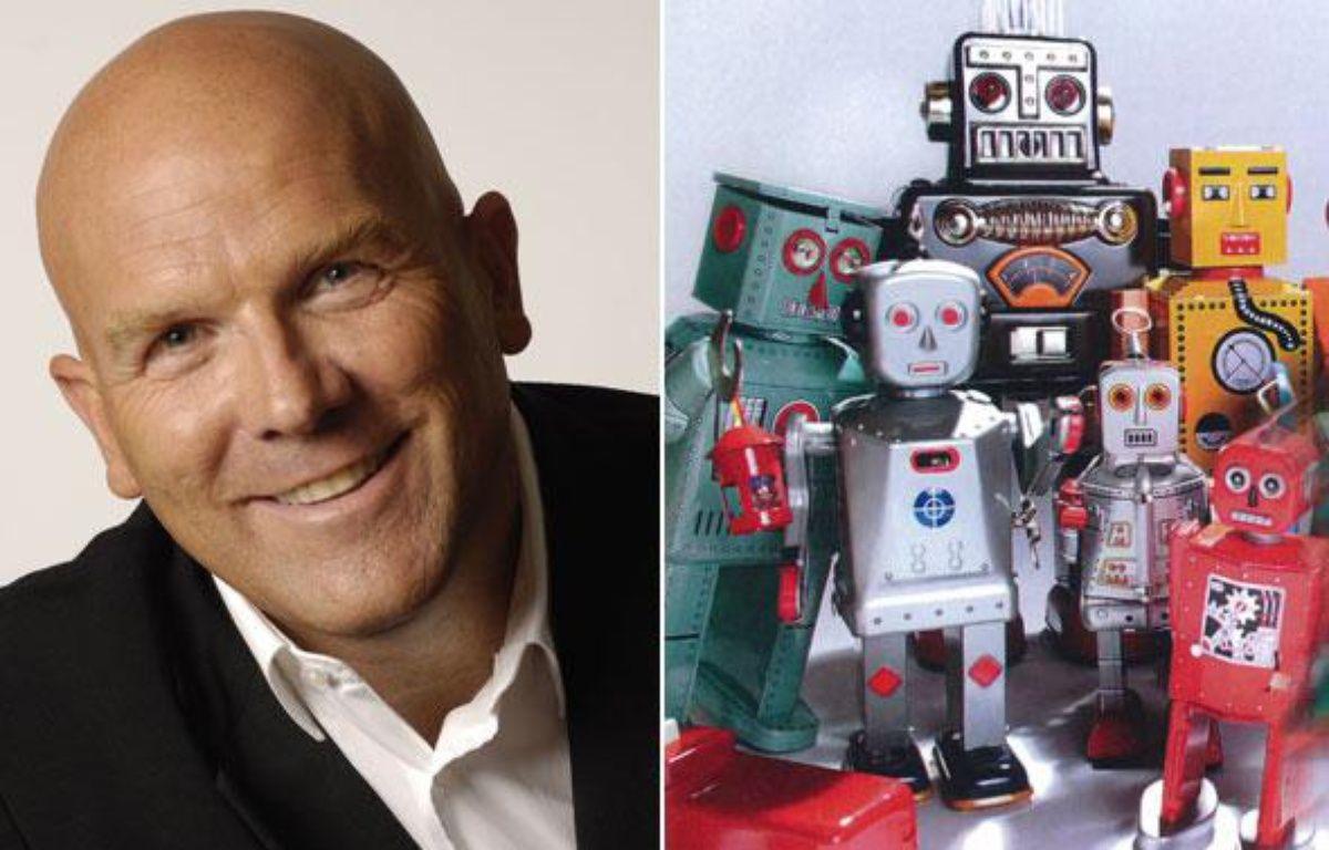 Bruno Bonnell, ex-président d'Infogrames, à la tête de Robopolis, qui commercialise des robots. – Robopolis / montage 20minutes.fr