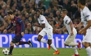 Messi face à Matuidi et Verratti lors de Barcelone-PSG, en quarts de finale retour de Ligue des champions, le 21 avril 2015.