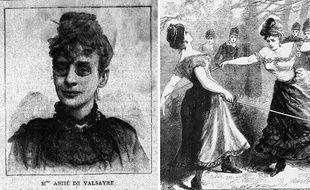 Marie-Rose Astié de Valsayre (à gauche), était connue pour ses nombreuses provocations en duel et son combat pour porter un pantalon, interdit aux femmes au XIXe siècle.