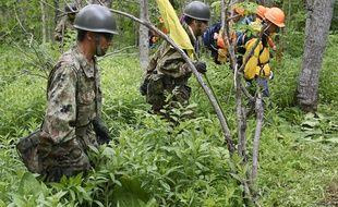 Les Forces d'autodéfense japonaises à la recherche du petit garçon disparu en forêt à Hokkaido, le 2 juin 2016.