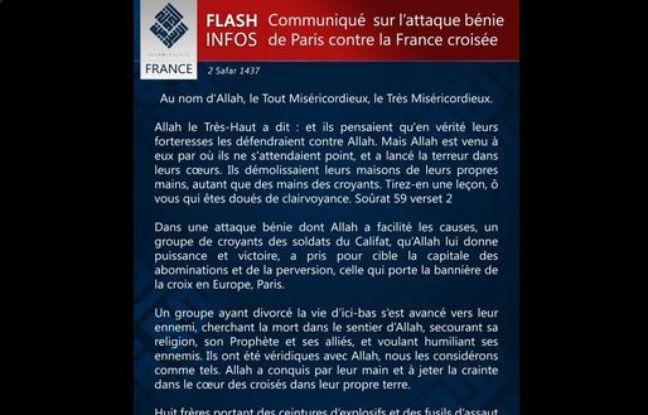 Communiqué de Daesh revendiquant les attentats de Paris, le 14 novembre 2015.