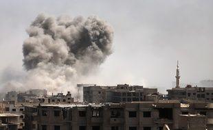 Des bombardements en Syrie, le 21 mars 2018.