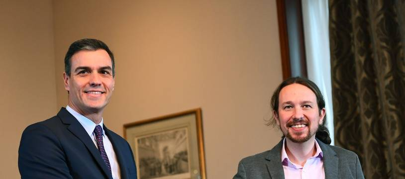 Le Premier ministre Pedro Sanchez (PSOE) et le leader de Podemos, Pablo Iglesias ont annoncé avoir trouvé un accord mardi 12 novembre 2019, après les législatives de dimanche 10 novembre 2019.