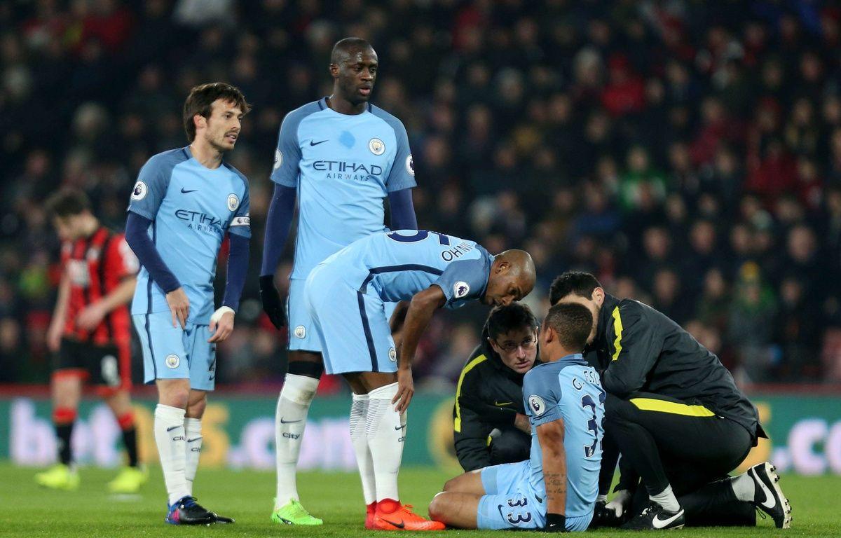 Gabriel Jesus est sorti blessé lors du match entre Manchester City et Bournemouth, le 13 février 2017.  –  James Marsh/BPI/Shutter/SIPA