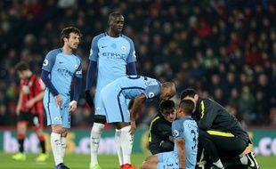 Gabriel Jesus est sorti blessé lors du match entre Manchester City et Bournemouth, le 13 février 2017.