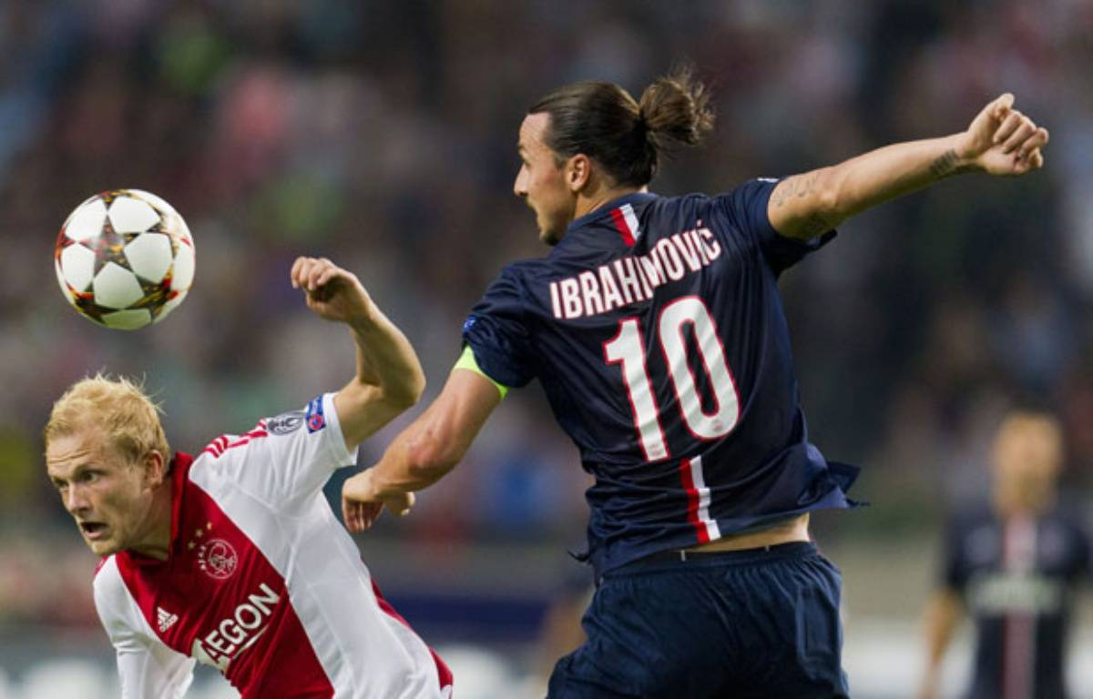 Zlatan Ibrahimovic lors du match entre l'Ajax Amsterdam et le PSG le 17 septembre 2014. – BRUNOPRESS/SIPA