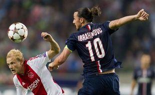 Zlatan Ibrahimovic lors du match entre l'Ajax Amsterdam et le PSG le 17 septembre 2014.