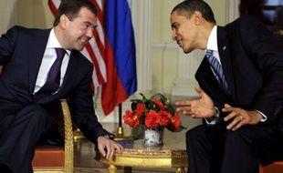 Barack Obama et Dmitri Medvedev au G20 à Londres le 1er avril