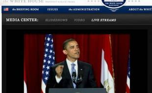 Barack Obama durant son discours à l'université du Caire.