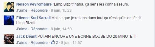 Capture d'écran de commentaires sur la page Facebook de Radio Metal à propos d'un article de 20 Minutes