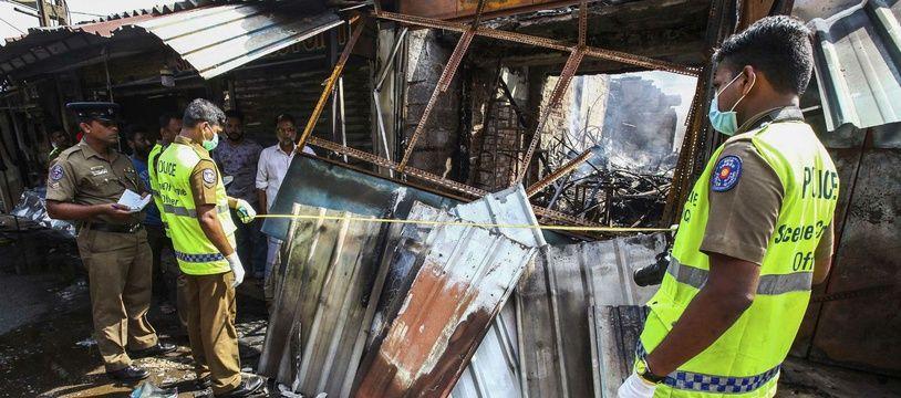 Le magasin d'un Sri Lankais de confession musulmane, vandalisé mi-mai dans le nord du pays.