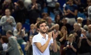 Gilles Simon après sa victoire contre Gaël Monfils en finale de l'Open 13, le 22 février 2015.