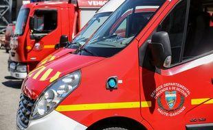 Un camion de pompiers en Haute-Garonne,le 14 mai 2019.Credit:FRED SCHEIBER/SIPA.