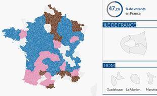 Carte interactive des résultats des départementales 2015. Capture d'écran.