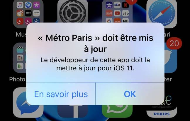 L'application Métro Paris ne répond plus.