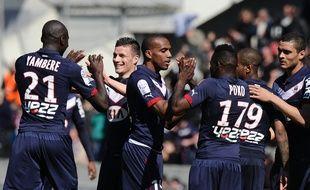 Les joueurs des Girondins fêtant leur victoire face à Lens le 5 avril 2015.