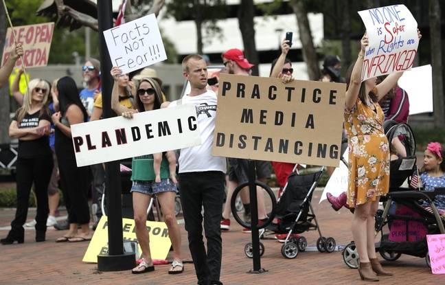 Des manifestants anti-confinement en Floride, le 17 avril 2020.