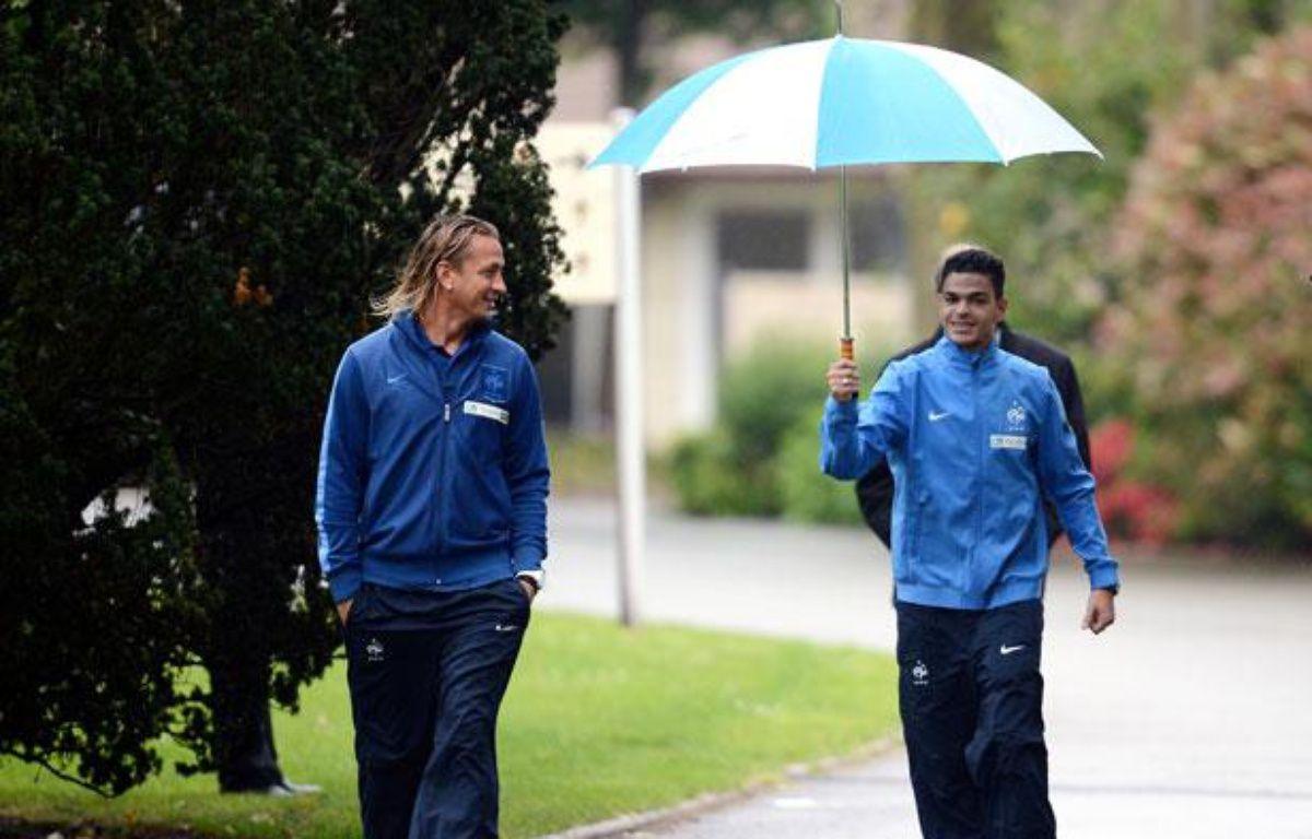 Philippe Mexès et Hatem Ben Arfa le 21 mai à Clairefontaine – F.FIFE/AFP