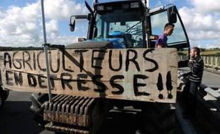 Un agriculteur participe à une manifestation le 1er septembre 2015 à Morlaix
