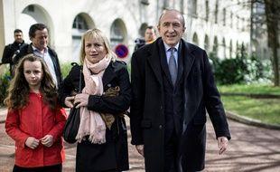 Caroline Collomb aux côtés de son époux Gérard Collomb, le maire de Lyon lors du premier tour des élections municipales de 2014.