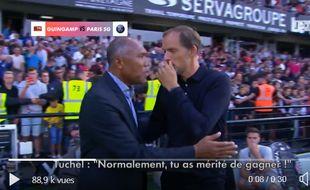 Tuchel et Kombouaré, le passé et le futur du PSG réunis au Roudourou.