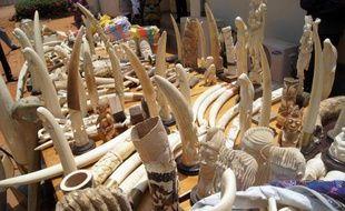 Des objets en ivoire et des défenses d'éléphants saisis au Togo (Afrique).