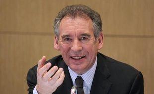 François Bayrou, le 12 février 2011, lors d'une conférence de presse au siège du MoDem.