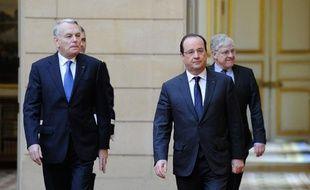 Jean-Marc Ayrault et François Hollande à l'Elysée, le 7 janvier 2014