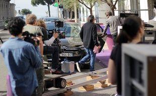 Lors d'un tournage, près du boulevard de la Croisette, à Cannes (Archives)