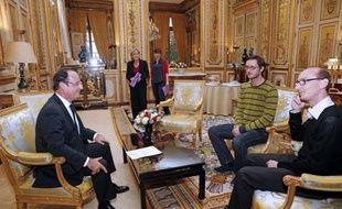 Nicolas Gougain et Mathieu Nocent reçus le 21 novembre 2012 par François Hollande à l'Elysée