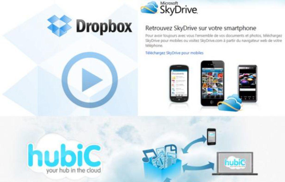 Différents services de stockage de fichiers en ligne («cloud»). – PHOTOMONTAGE/20MINUTES.FR