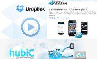 Différents services de stockage de fichiers en ligne («cloud»).