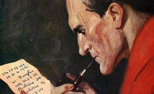 Détail d'une représentation artistique de Sherlock Holmes