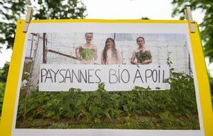 Les agriculteurs bio manifestent le 2 juin 2021 sur l'esplanade des Invalides, à Paris.