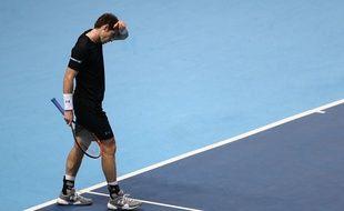 Le joueur de tennis écossais Andy Murray, le 18 novembre 2015, à Londres, contre Rafael Nadal.