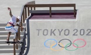Aurélien Giraud a terminé premier des séries en skateboard avant de rater sa finale, lors des JO de Tokyo, le 25 juillet 2021.